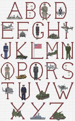 USA Military Cross stitch chart
