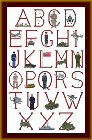 USA Military Cross stitch Alphabet