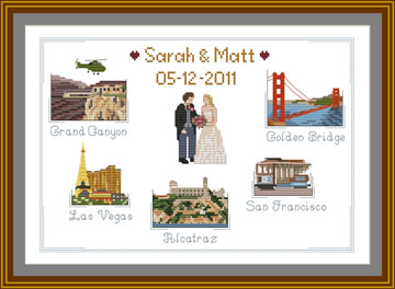 Customized Cross stitch Wedding Sampler