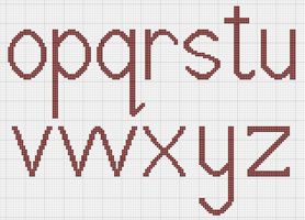 Counted Cross stitch lowercase alphabet