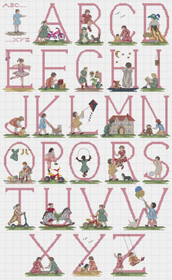 Counted Cross Stitch Alphabet Of Girls